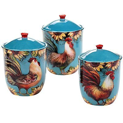 Certified International 17714 3 Piece Sunflower Rooster Canister Set Mult... New
