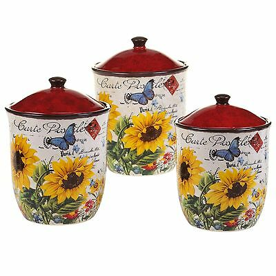 Certified International 13985 3 Piece Sunflower Meadow Canister Set Multi... New