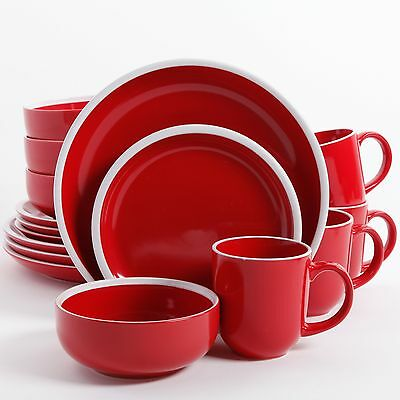 Gibson Home Orofino 16 Piece Dinnerware Red New