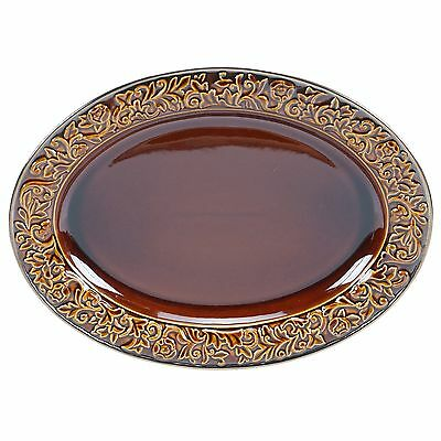 Certified International 57635 Solstice Oval Platter 16-Inchx12-Inch Brown New