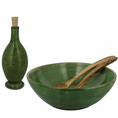 French Home Stoneware Salad Bowl Oil Bottle and Olive Wood Salad Servers ... New