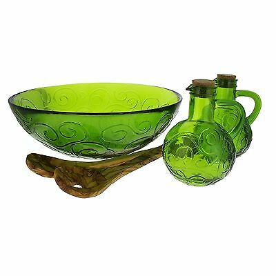 French Home 4 Piece Recycled Glass Salad Set Willow Green New
