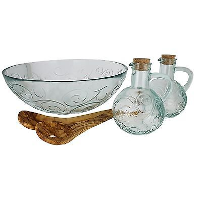 French Home 4 Piece Recycled Glass Salad Set Clear New