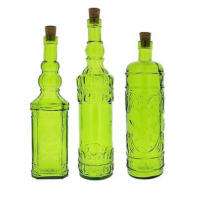 French Home Recycled Glass Bottles Set of 3 Willow Green New