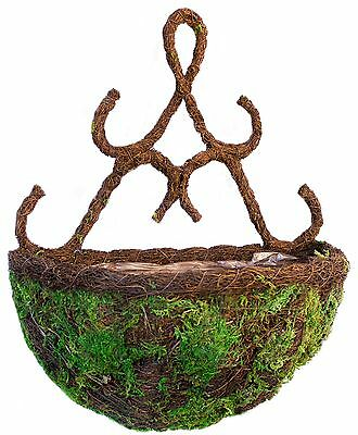 "Supermoss 759834293989 Moss & Wicker Wall Sconce Planter Basket (29398) 13"" New"