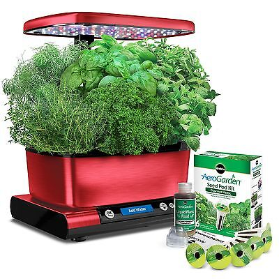 Miracle-Gro AeroGarden Harvest Elite with Gourmet Herb Seed Pod Kit Red New