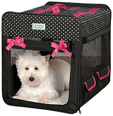 Cruising Companion Polka Dot Collapsible Dog Crate Small Black New