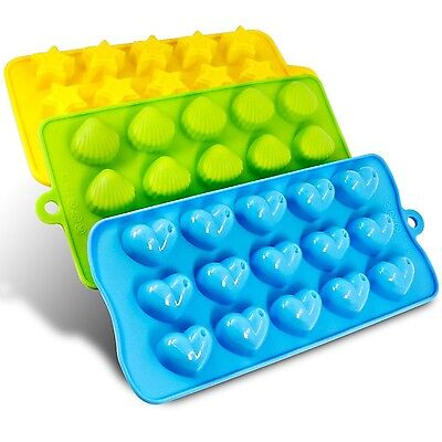 Silicone Molds- SENHAI 3 Pack Candy Chocolate Molds Ice Cube Trays - Hear... New