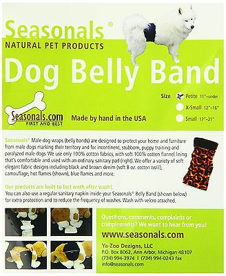 Seasonals 41206BLK Washable Belly Band/Diaper Fits Petite Dogs Black New