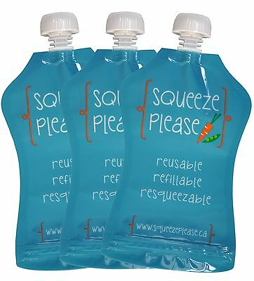 Squeeze Please Reusable Food Pouches for Toddlers Pre-Schoolers and Babie... New