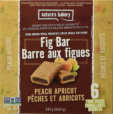Nature's Bakery Fig Bars (Pack of 6) Whole Wheat Peach Apricot 340.2g New