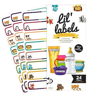 Bottle Labels Write-On Self-Laminating Daycare Waterproof Labels (Animal ... New