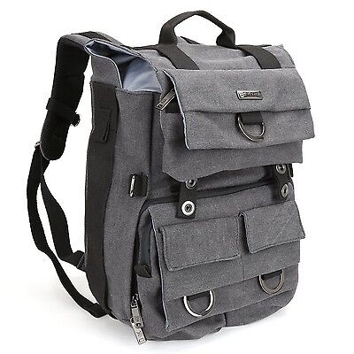 Evecase DSLR Camera Canvas Backpack with Tablet/Laptop Compartment & Rain... New