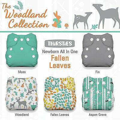 Thirsties Package-Snap Newborn All in One-Woodland Collection Fallen Leaves New