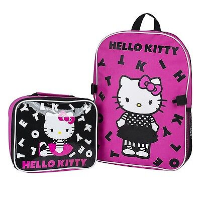 "Sanrio Hello Kitty 15"" Backpack + Insulated Lunch Bag Official Licensed New"