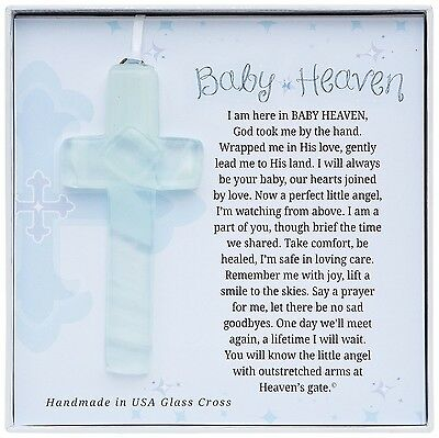 The Grandparent Gift Baby Heaven Infant Memorial Cross Frame White Blue New