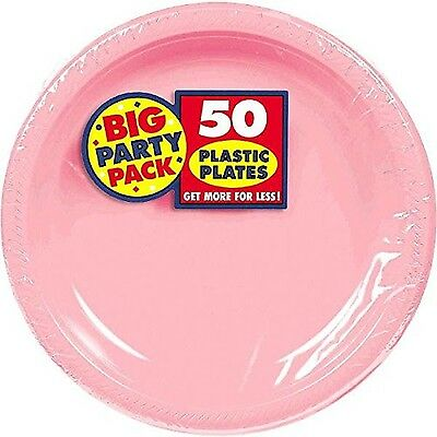 Amscan Big Party Pack 50 Count Plastic Lunch Plates 10.25-Inch New Pink New