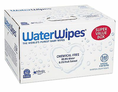 WaterWipes Sensitive Baby Wipes Natural & Chemical-Free 9 packs of 60 Cou... New