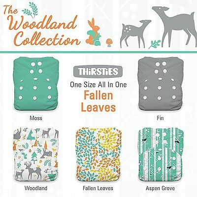 Thirsties Package-Snap One Size All in One-Woodland Collection Fallen Lea... New
