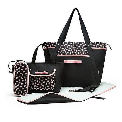 MOMMORE 4 PCS Set Diaper Bag with Baby Changing Pad Small Tote Bag Pink Dot New
