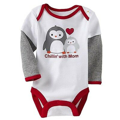 Chillin' with Mom Baby & Toddler Long Sleeves Onesie (9 Months) 100% Cott... New