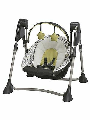 Graco Swing by Me Portable 2-in-1 Swing San Marino Charcoal Yellow New