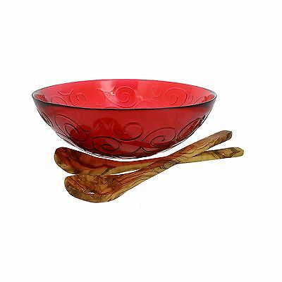 French Home Salad Bowl with Olive Wood Servers Cranberry Red/Natural Wood... New