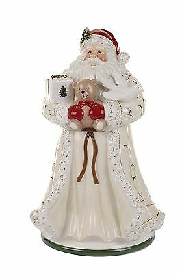 Spode Christmas Tree Santa Cookie Jar Large Gold New