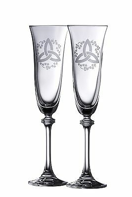 Galway Crystal Trinity Knot Shamrock Liberty Flute (1 Pair) Clear New