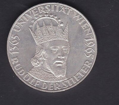 Austria silver 1965 fifty shilling coin in unc