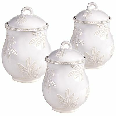Certified International 25454 3 Piece Bianca Canister Set Ivory New