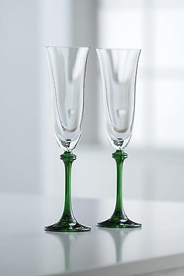 Galway Crystal Liberty Flute (1 Pair) Clear/Green New