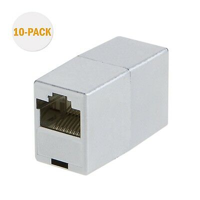 CableCreation 10-PACK Shielded Cat5e / RJ45 Modular Coupler Silver New