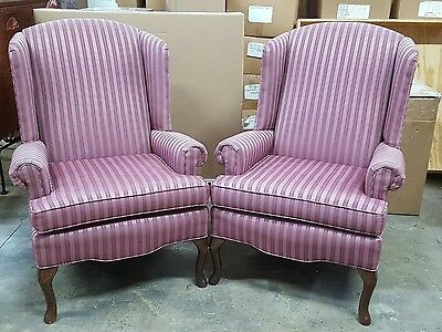 Pair of Wing Back Chairs - Upholstered Mauve