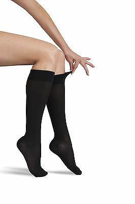 GABRIALLA Sheer Knee Highs Compression (20-22 mmHg): H-160 Small Black New