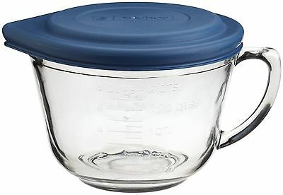 Kitchen Supply 2-Quart Glass Batter Bowl with Lid Crystal clear glass New