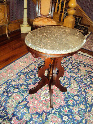 Antique Victorian Oval Marble Top Table , Beautiful Fancy Original , No Reserve