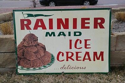 1950's Rainier Maid Chocolate Ice Cream Advertising Stout Sign Store Display A+
