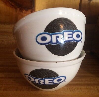 Lot Of 2 Oreo Cookie Ceramic Nabisco Cereal/Ice Cream  Bowl By Houston Harvest