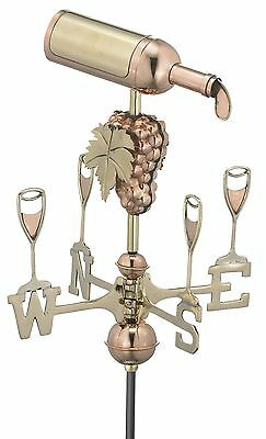 Good Directions Wine Bottle Garden Weathervane with Garden Pole Pure Copper New