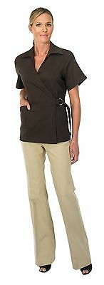 Canyon Rose Esthetician's Wrap Jacket Brown Large New