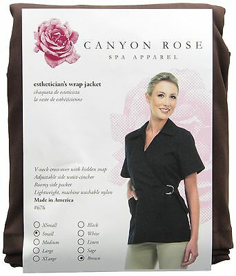 Canyon Rose Esthetician's Wrap Jacket Brown Small New