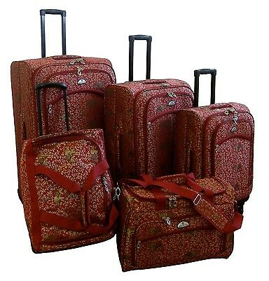 American Flyer Luggage Budapest 5 Piece Spinner Set Metallic Red One Size New