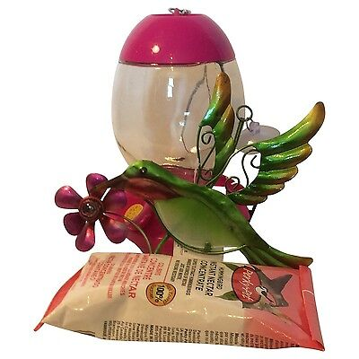 Pink Floral Glass Hummingbird Feeder with Instant Nectar Concentrate Sunc... New