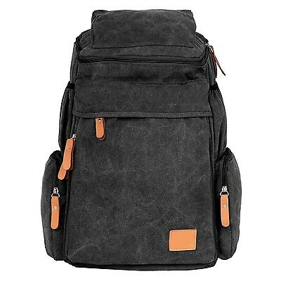 Aubig Unisex Canvas Hiking Backpack Travel Backpack Computer Bag - Black New