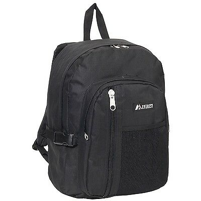 Everest Backpack with Front Mesh Pocket Black One Size New