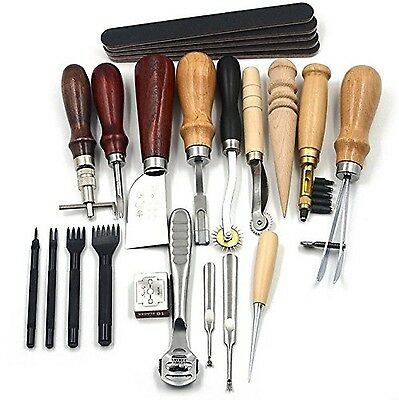 18pcs Leather Carft Punch Tools Kit Stitching Carving Working Sewing Sadd... New