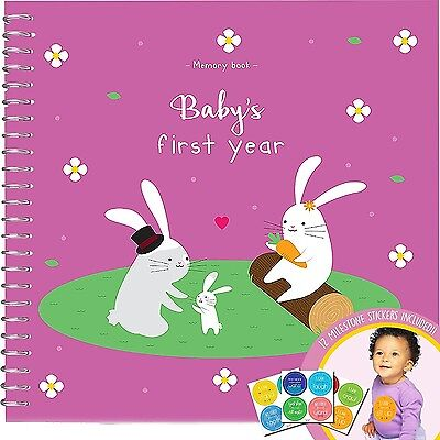 MEMORY BOOK + STICKERS - Unconditional Rosie Baby Girls First Year Record... New