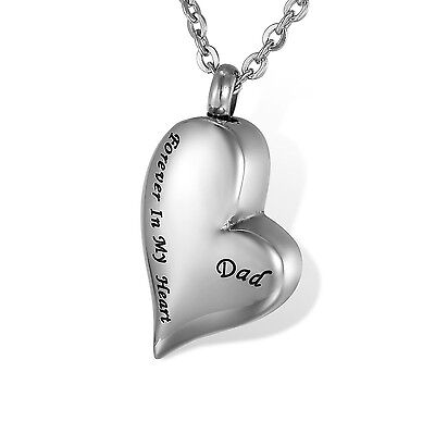 HOUSWEETY Stainless Steel Forever In My Heart Dad Heart shape Waterproof ... New