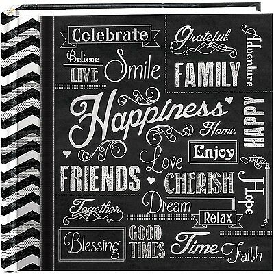 """Pioneer Photo Albums 200-Pocket Chalkboard Printed """"Happiness"""" Theme Phot... New"""